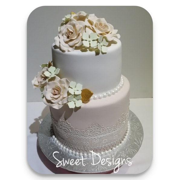 Edible Lace Wedding Cake with Gumpaste Flowers