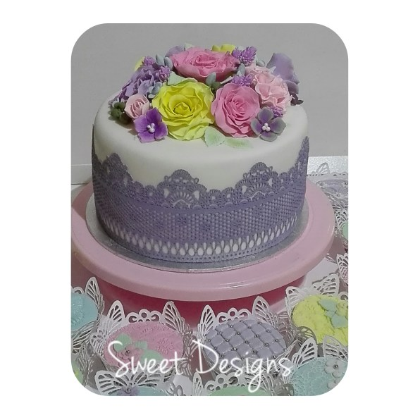 Lace Birthday Cake with roses