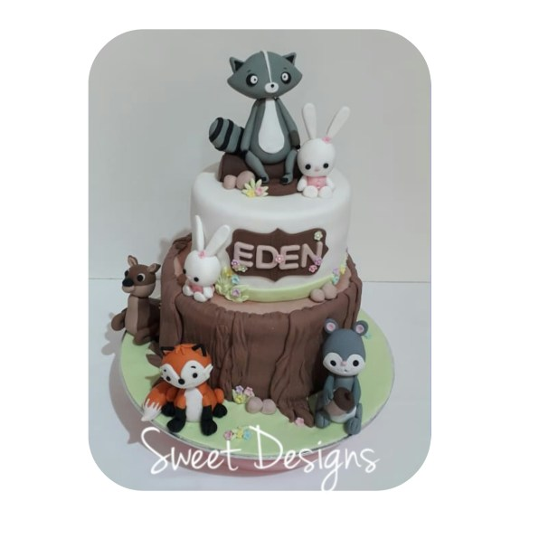 Woodland Birthday Cake with Gumpaste Animals