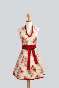 Sexy Womans Hostess Halter Rose Floral Apron by CreativeChics