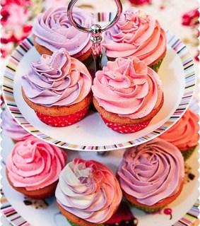 Girly Pastel Tri-Coloured Swirl Vanilla Cupcakes