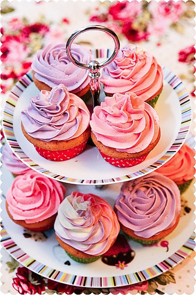 Vanilla Buttercream Cupcakes with Lilac/Lavender/White and Pink