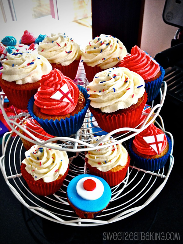 London Olympics Themed England Red, White and Blue 2012 Vanilla Buttercream Cupcakes