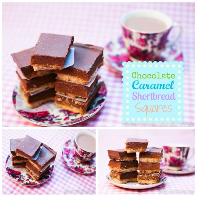 Chocolate Caramel Shortbread Squares (TWIX Bars) by Sweet2EatBaking.com