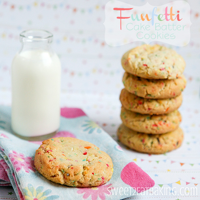 Funfetti Cake Batter Cookies by Sweet2EatBaking.com - These cookies taste just like cake batter, but without any box mixes. Quick and easy dessert recipe