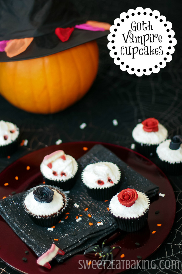 Goth Vampire Rose Halloween Cupcakes Recipe by Sweet2EatBaking.com
