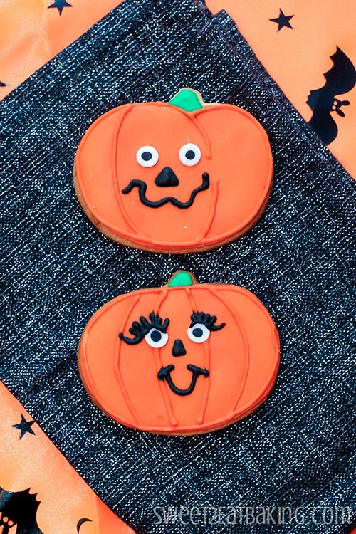 Mr & Mrs Jack o Lantern Pumpkin Cookies