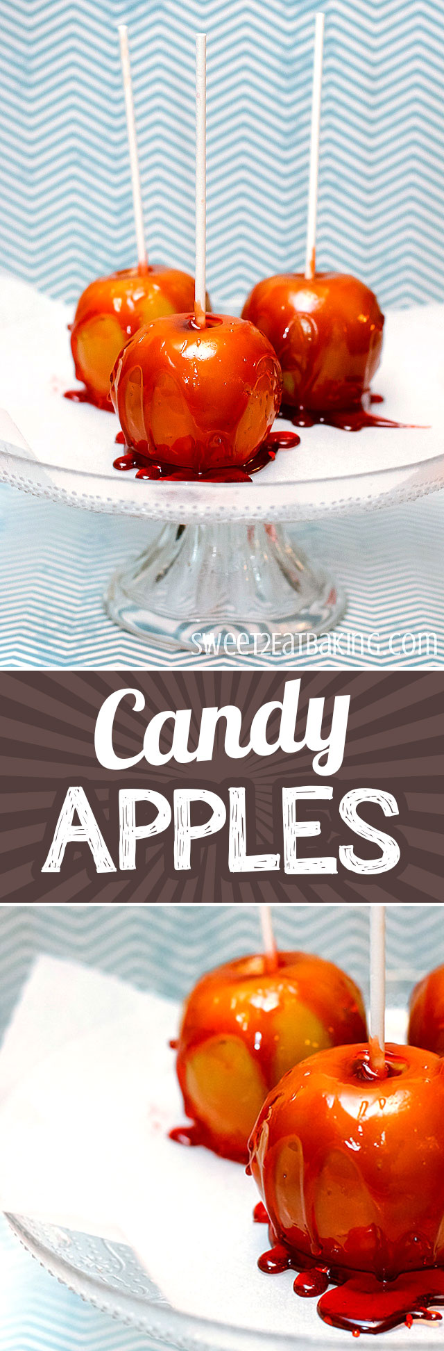 Toffee Apples (aka. Candy Apples) Recipe by Sweet2EatBaking.com | The perfect sweet treat for sitting around the bonfire watching the fireworks on bonfire night. Sweet apples coated in a hard candy. Make your own toffee candy apples