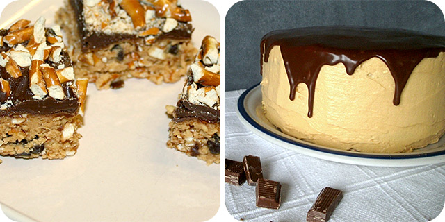 Sweet and Salty Peanut Butter Pretzel Candy & Cookie Dough Cake