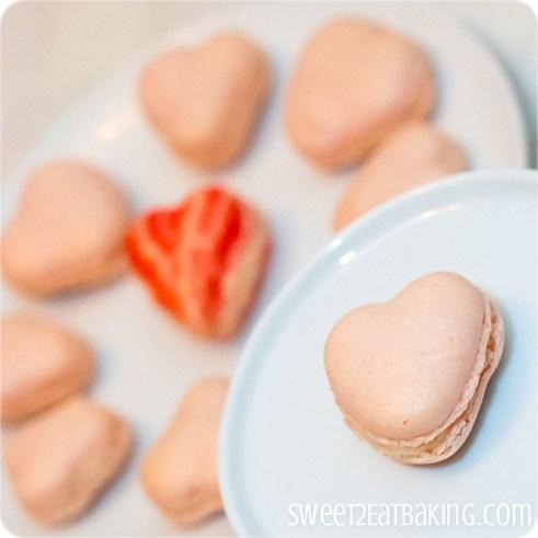 Italian Meringue Valentine's Heart Macarons by Sweet2EatBaking.com