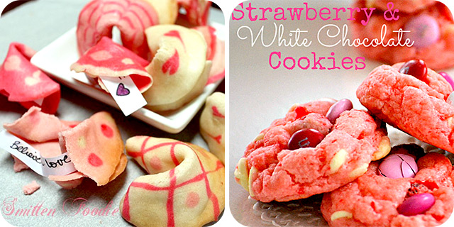 Valentine's Day Fortune Cookies | Strawberry & White Chocolate Cake Mix Cookies
