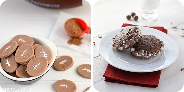 Chocolate Conversation Heart Footballs | Chocolate Malt Whoopie Pies