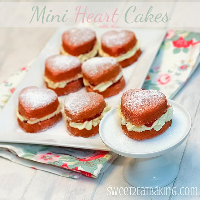 Mini Heart Shaped Victoria Sponge Cakes by Sweet2EatBaking.com