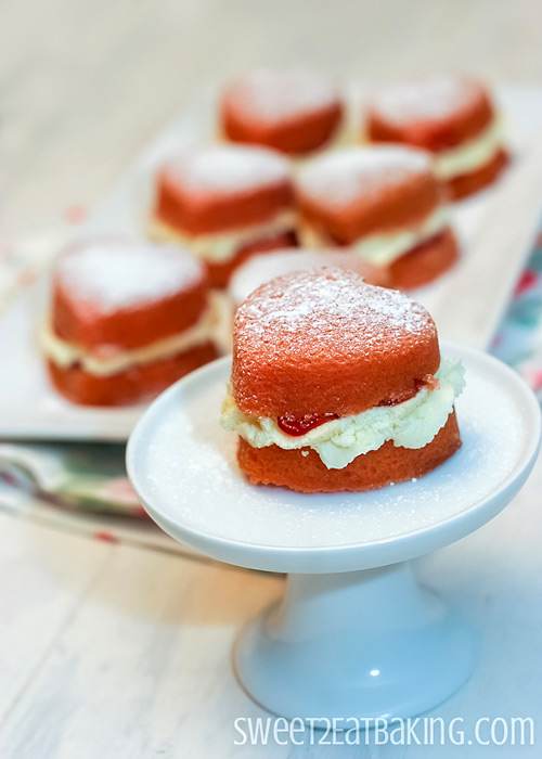 Victoria Sponge Mini Heart Cakes by Sweet2EatBaking.com