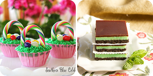 Easter Basket Cupcakes | Grasshopper Cheesecake Bars