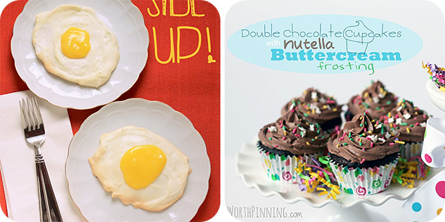 Lemon Curd [April Fools] Eggs | Double Chocolate Cupcakes with Nutella Frosting