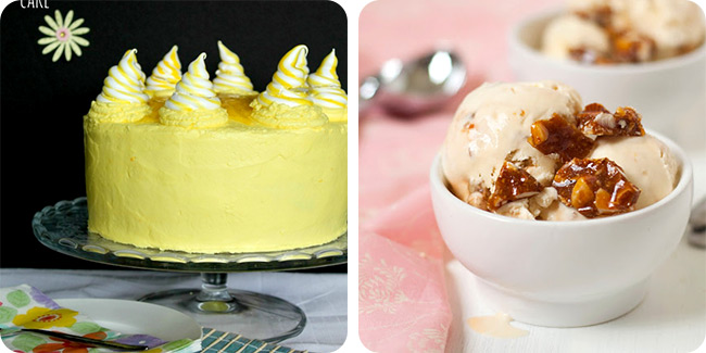 Lemon Meringue Delight Cake   Caramelized Almond Nougat Ice Cream