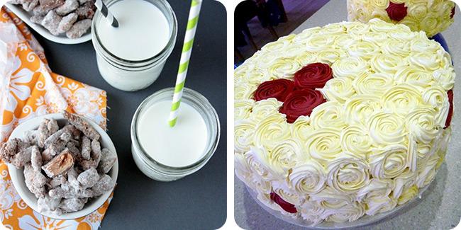 Butterfinger Muddy Buddies   Red Velvet Rose Cake
