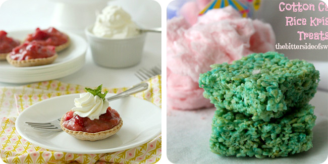 Cotton Candy Rice Krispie Treats | Strawberry Rhubarb Tarts