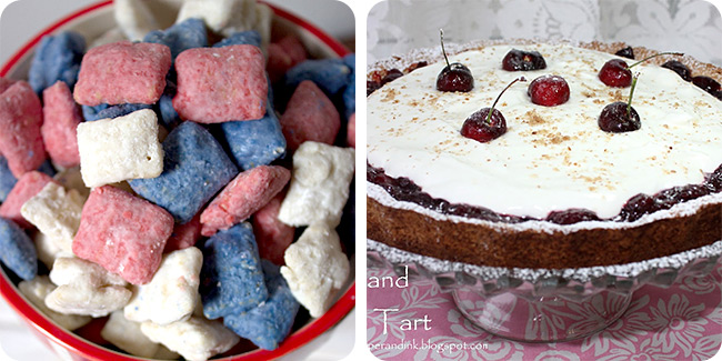 Patriotic Puppy Chow   Cherry and Almond Tart