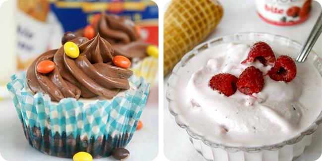 Monster Cookie Ice Cream Cupcakes | Soft Serve Raspberry Frozen Yogurt