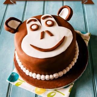 Chocolate Chimp Monkey Face Birthday Cake