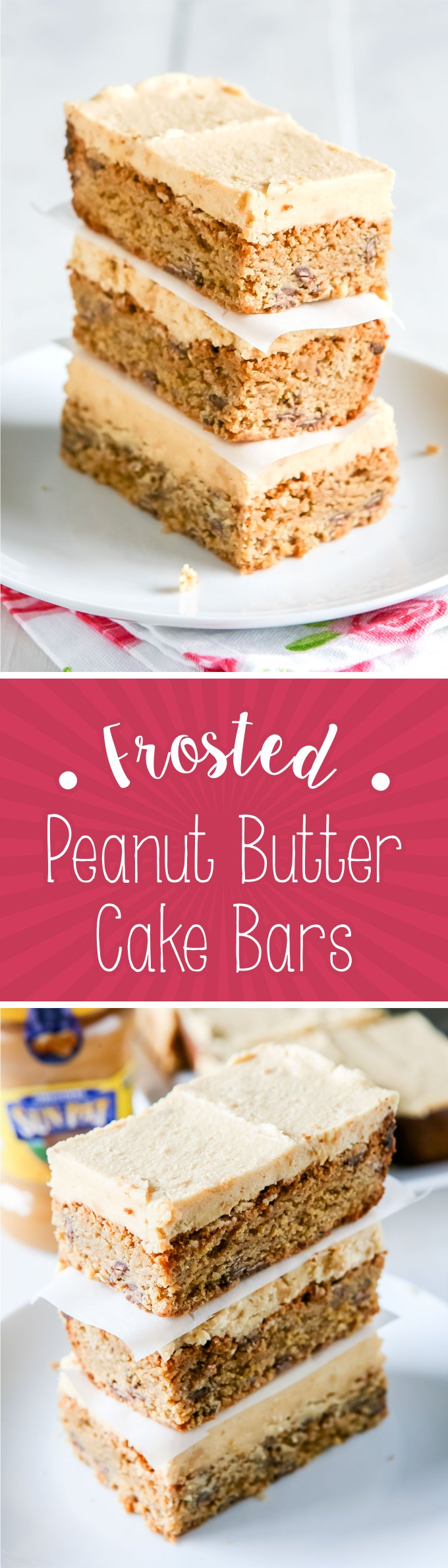 Frosted Peanut Butter Cake Bars Recipe by Sweet2EatBaking.com | These Frosted Peanut Butter Cake Bars are a peanut butter lovers dream! These cake bars are jam packed with peanut butter and milk chocolate chips.