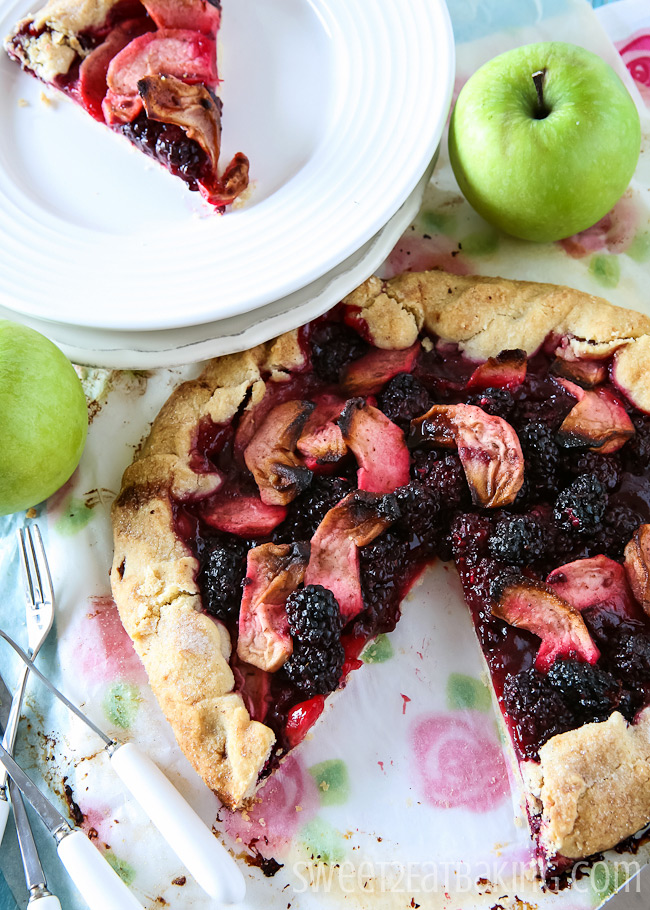 Apple and Blackberry Galette Recipe by Sweet2EatBaking.com