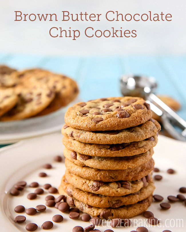 Brown Butter Chocolate Chip Cookies Recipe by Sweet2EatBaking.com