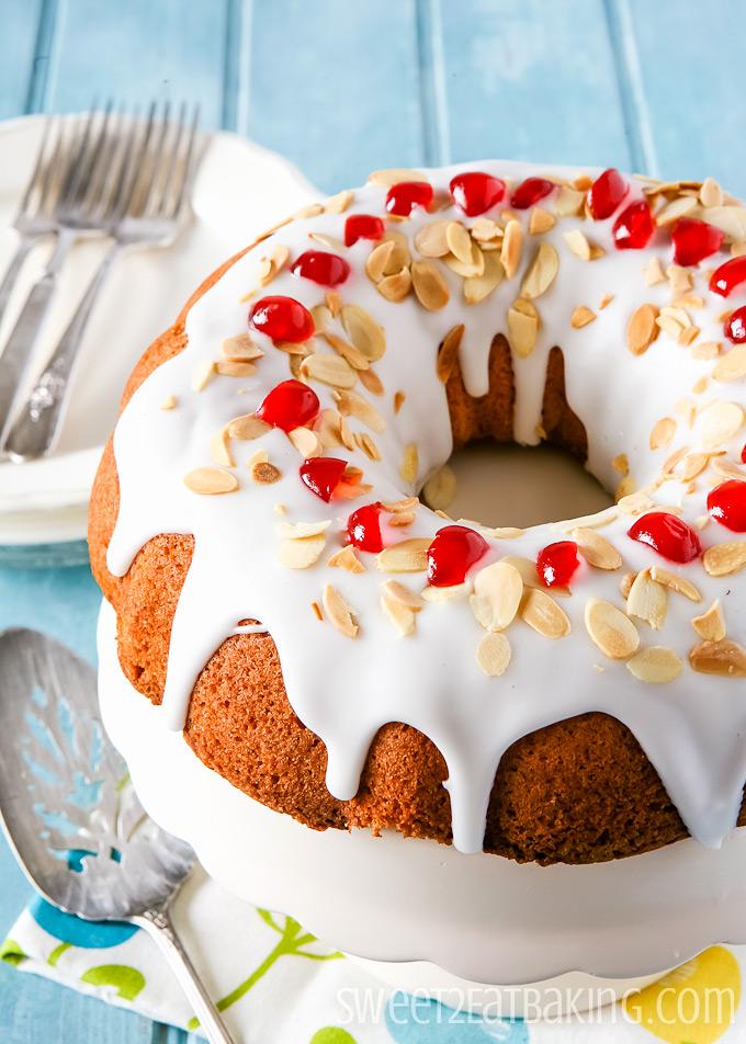 Cherry & Almond Bundt Cake Recipe by Sweet2EatBaking.com