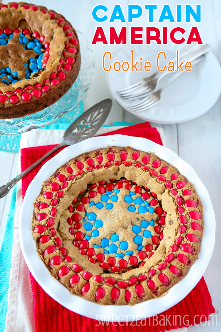 Captain America Chocolate Chip Cookie Cake by Sweet2EatBaking.com | #mms #cookie #cake #baking #recipe
