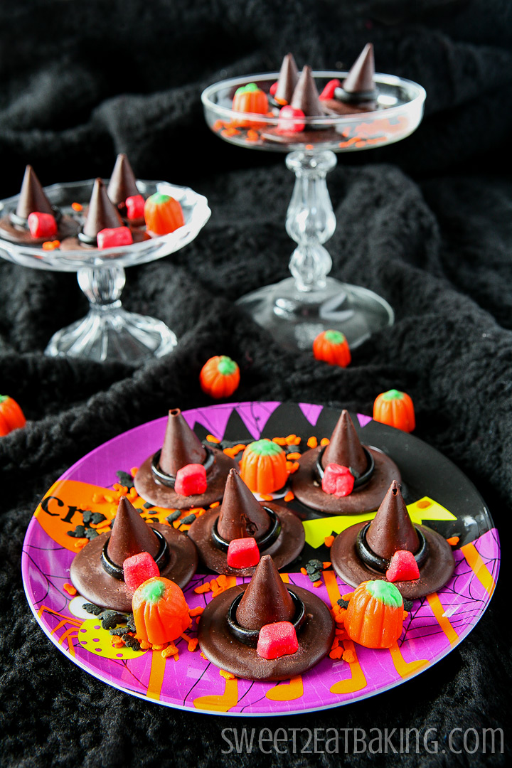 Chocolate Honeycomb Halloween Witches' Hats Recipe by Sweet2EatBaking.com