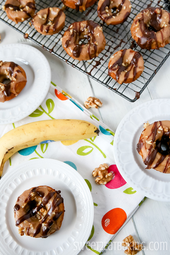 Banana & Walnut Baked Donuts Recipe by Sweet2EatBaking.com