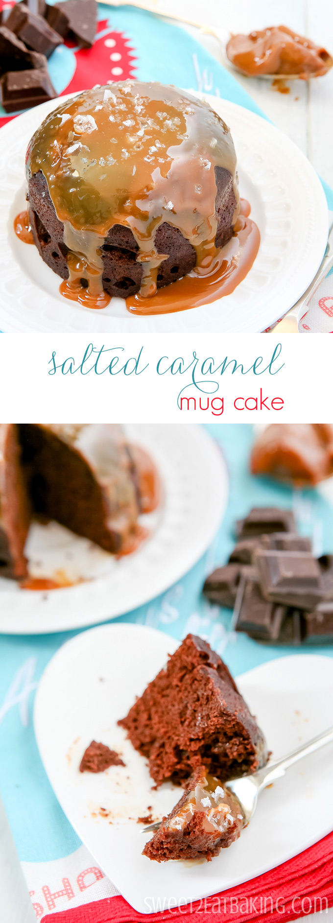 Chocolate Salted Caramel Mug Cake Recipe by Sweet2EatBaking.com