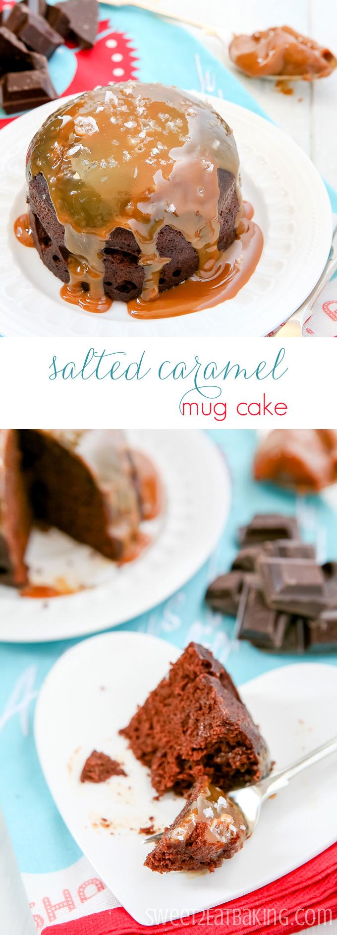 Chocolate Salted Caramel Mug Cake Recipe by Sweet2EatBaking.com