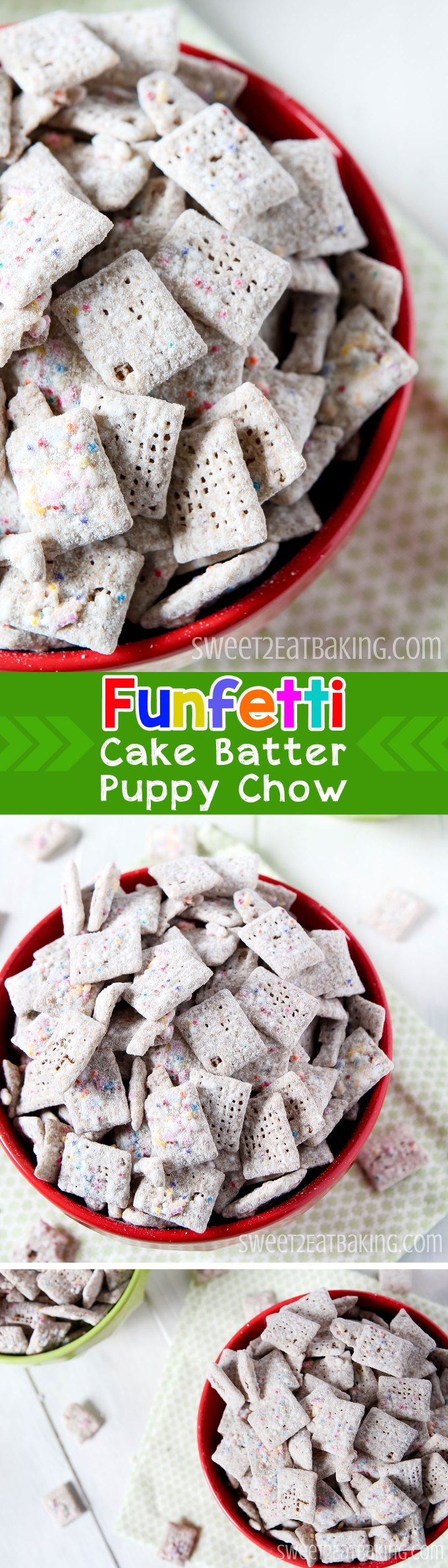 Funfetti Cake Batter Puppy Chow (Muddy Buddies) Chex Recipe by Sweet2EatBaking.com