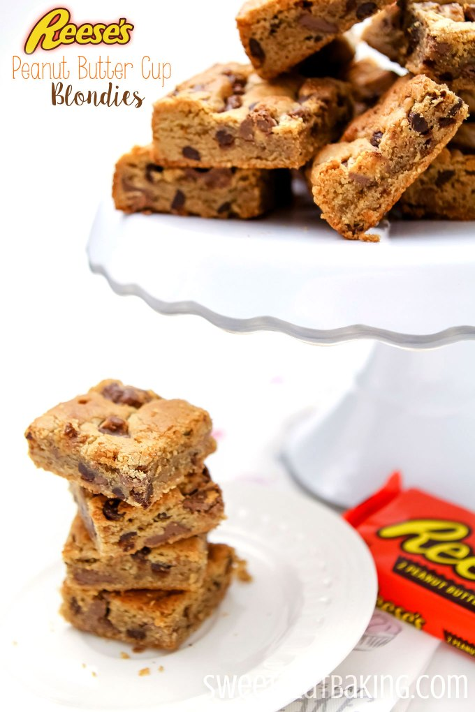 Reese's Peanut Butter Cup Blondies Recipe by Sweet2EatBaking.com