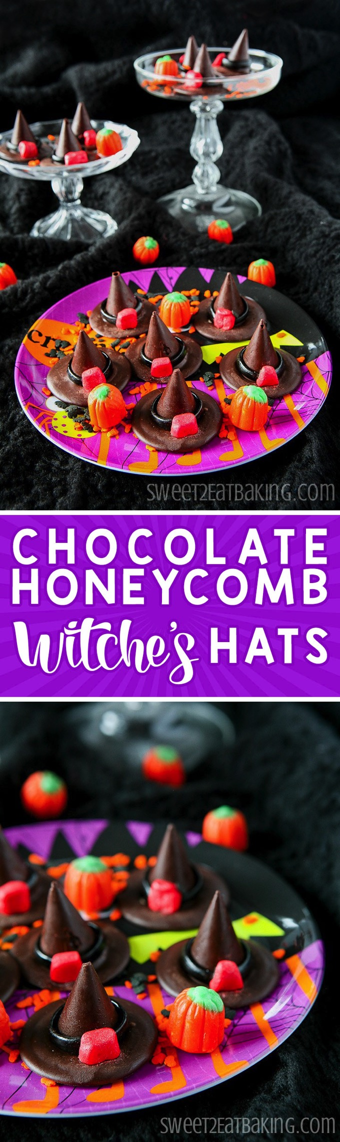 Chocolate Honeycomb Halloween Witches' Hats Recipe by Sweet2EatBaking.com | Spook your friends this Halloween with these edible witches' hats. They're made from crushed honeycomb and chocolate with liquorice and fondant ribbon details. Quick and easy to make, looks impressive, and perfect for a Halloween Party.