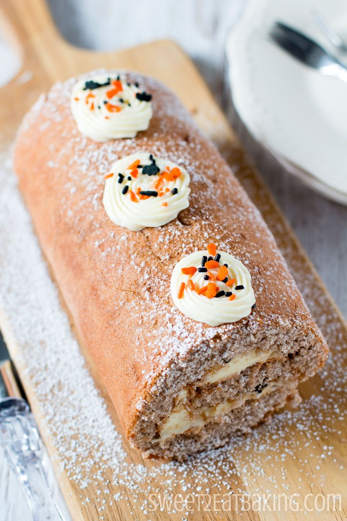 Halloween Fall Spice Roulade Recipe by Sweet2EatBaking.com