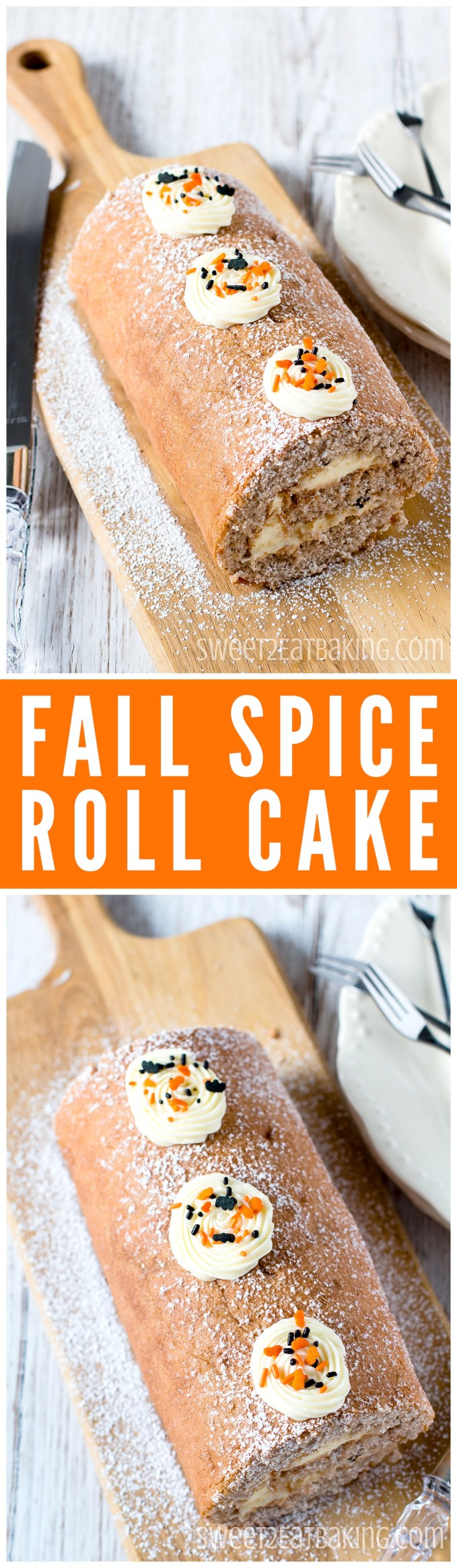Halloween Fall Spice Swiss Cake Roll Roulade Recipe by Sweet2EatBaking.com | Delicately spiced with  cinnamon, nutmeg, ginger, allspice, cloves, and filled with a tangy cream cheese frosting. The perfect cake for Fall or Halloween