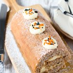 Halloween Fall Spice Swiss Roll (Roll Cake / Roulade) by Sweet2EatBaking.com | This Halloween Fall Spice Swiss Roll is delicately spiced with cinnamon, nutmeg, ginger, allspice, cloves, and filled with a tangy cream cheese frosting. Makes a great crowd pleaser for Halloween.