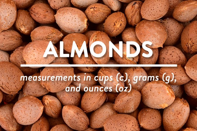 Almonds - Measurements in Cups (c), Grams (g), and Ounces (oz) by Sweet2EatBaking.com