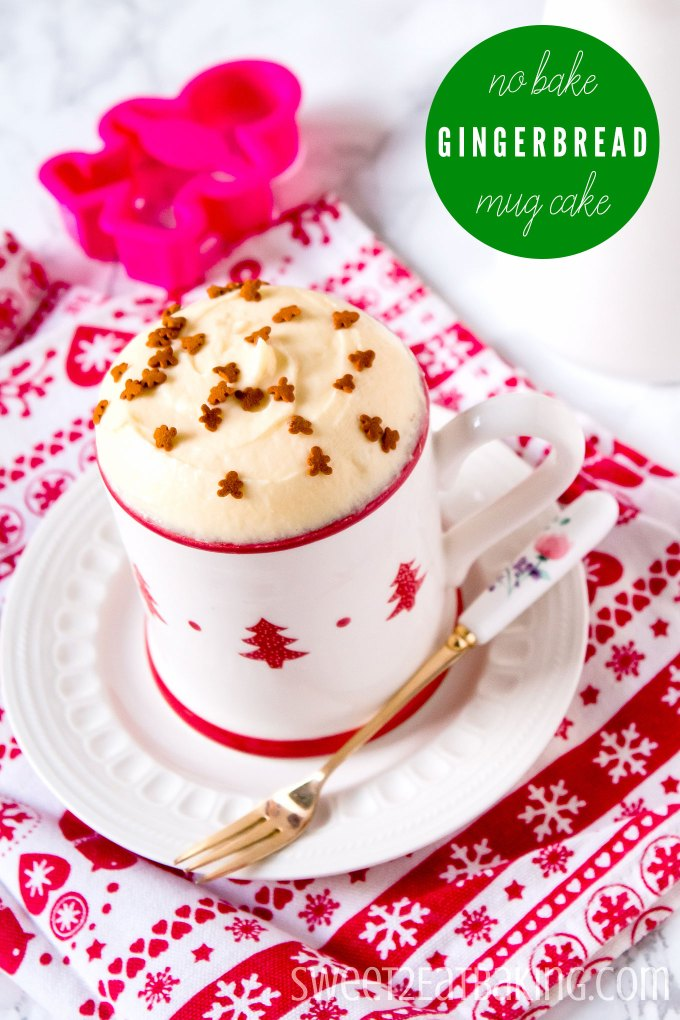 No Bake Gingerbread Mug Cake Recipe by Sweet2EatBaking.com