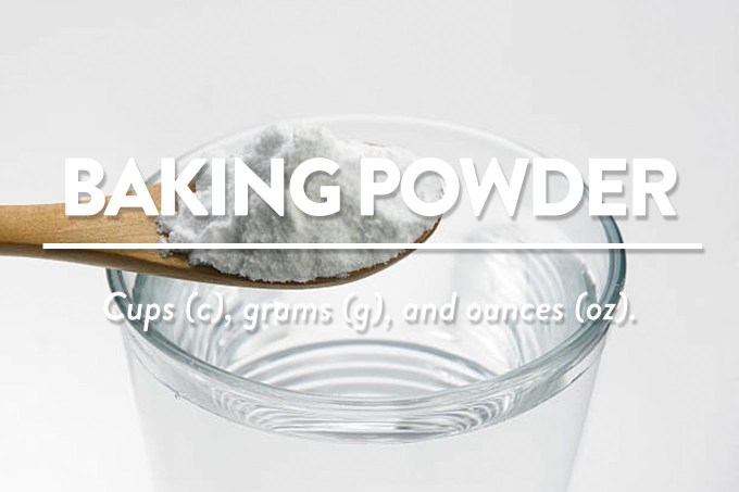 Baking Powder - Measurements in cups (c), grams (g), and ounces (oz) by Sweet2EatBaking.com