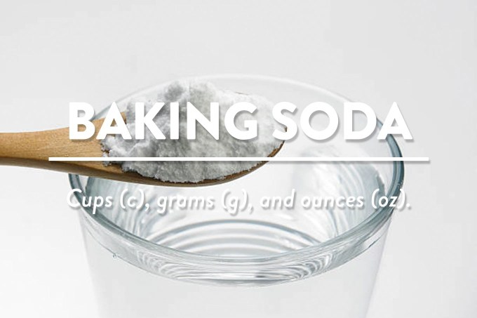 Baking Soda (Bicarbonate of Soda - Measurements in cups (c), grams (g), and ounces (oz) by Sweet2EatBaking.com