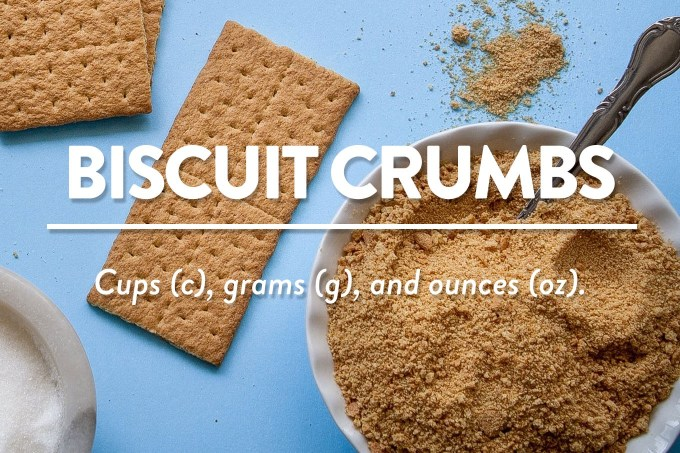 Biscuit, Cookie, or Graham Cracker Crumbs - Measurements in cups (c), grams (g), and ounces (oz) by Sweet2EatBaking.com