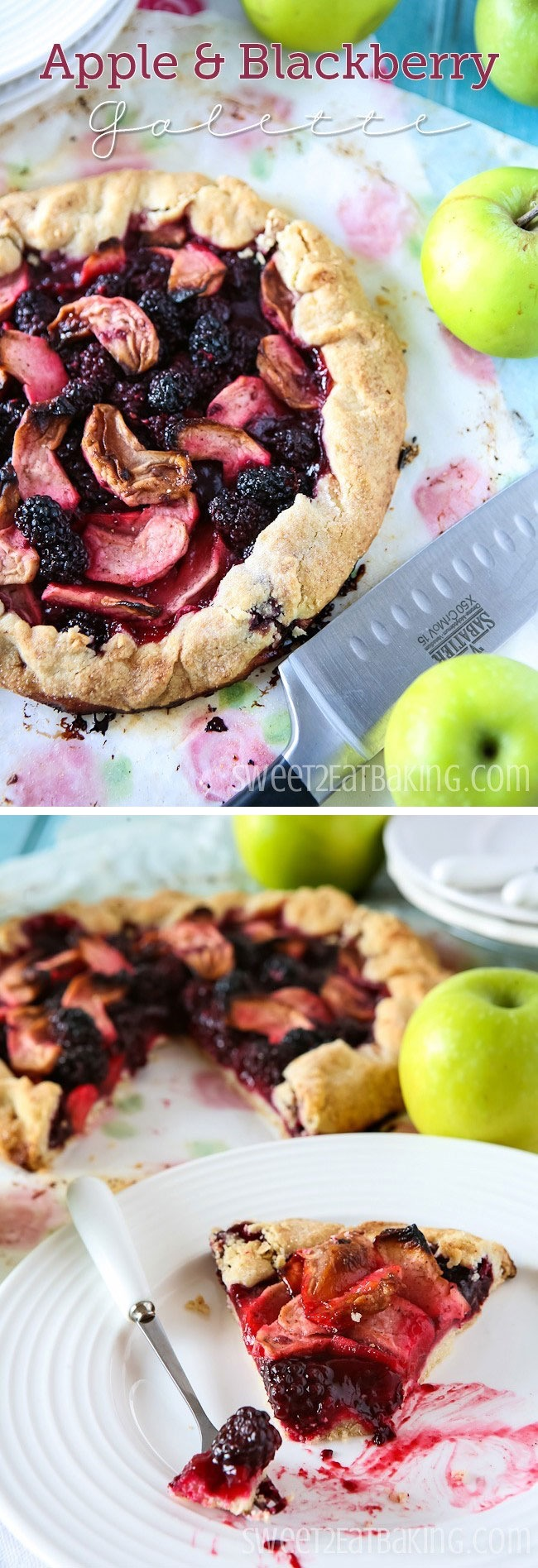 Apple and Blackberry Galette Recipe by Sweet2EatBaking.com | This apple and blackberry galette is a British classic. Sweet blackberries paired with bramley apples makes one of the best flavour combos, and a family favourite.