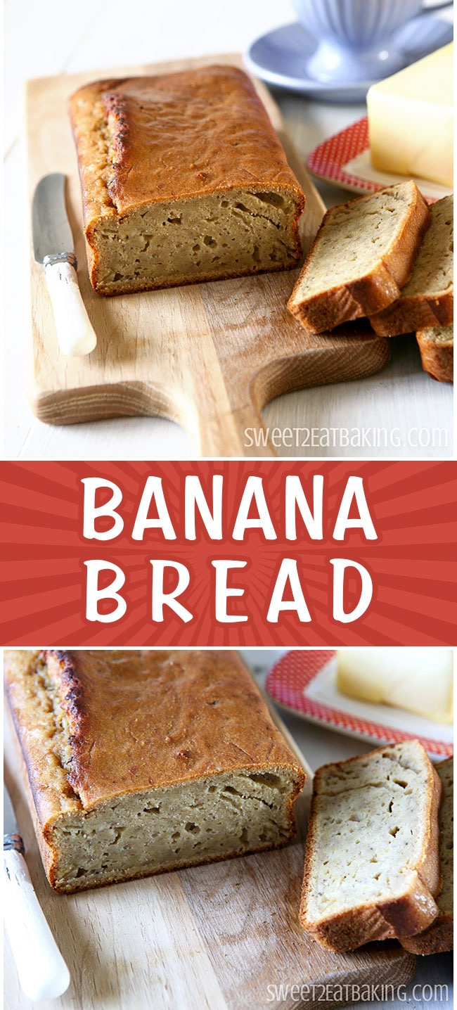 Banana Bread Recipe by Sweet2EatBaking.com | This Banana Loaf is delicious and moist with lots of flavour. Perfect sliced with tea or coffee. Banana bread is wonderful toasted too. Best with overripe bananas.