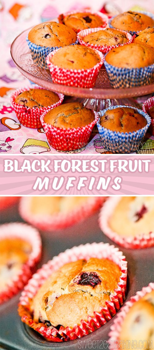 Black Forest Muffins Recipe by Sweet2EatBaking.com | These Black Forest Muffins have the perfect generous combo of cherries, grapes, blackberries, and blackcurrants throughout. They're the perfect way to start the day.