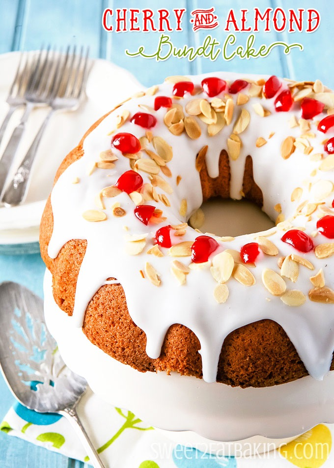 Cherry and Almond Bundt Cake Recipe by Sweet2EatBaking.com